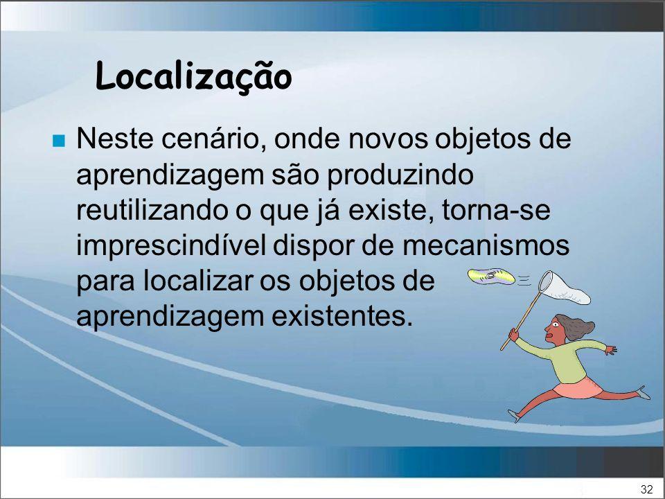 32 Localização n Neste cenário, onde novos objetos de aprendizagem são produzindo reutilizando o que já existe, torna-se imprescindível dispor de mecanismos para localizar os objetos de aprendizagem existentes.