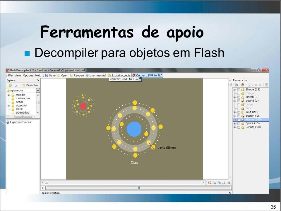 36 Ferramentas de apoio n Decompiler para objetos em Flash