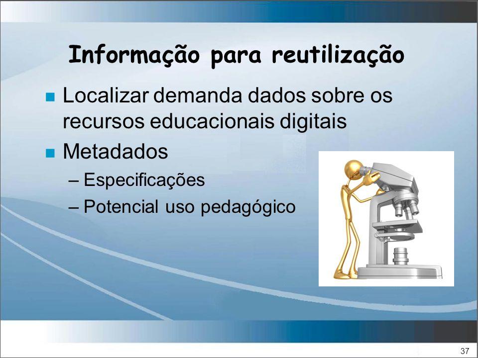 37 Informação para reutilização n Localizar demanda dados sobre os recursos educacionais digitais n Metadados –Especificações –Potencial uso pedagógico
