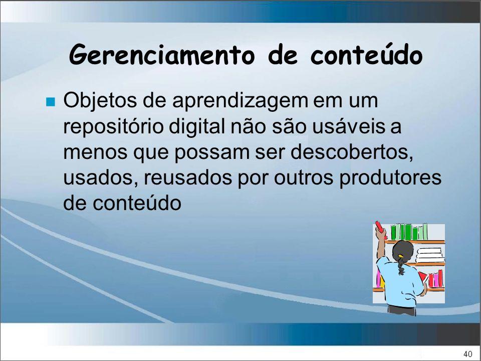 40 Gerenciamento de conteúdo n Objetos de aprendizagem em um repositório digital não são usáveis a menos que possam ser descobertos, usados, reusados por outros produtores de conteúdo