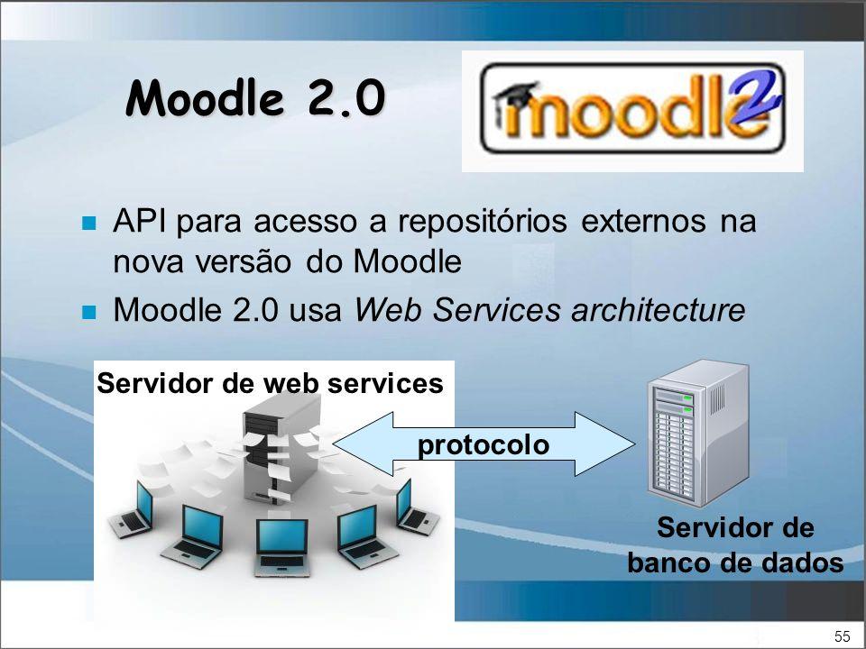 55 Moodle 2.0 n API para acesso a repositórios externos na nova versão do Moodle n Moodle 2.0 usa Web Services architecture protocolo Servidor de banco de dados Servidor de web services