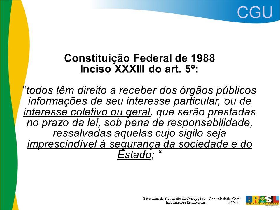CGU Controladoria-Geral da União Secretaria de Prevenção da Corrupção e Informações Estratégicas Constituição Federal de 1988 Inciso XXXIII do art.