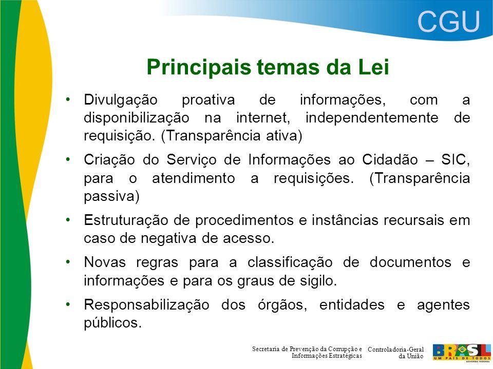 CGU Controladoria-Geral da União Secretaria de Prevenção da Corrupção e Informações Estratégicas Principais temas da Lei Divulgação proativa de informações, com a disponibilização na internet, independentemente de requisição.