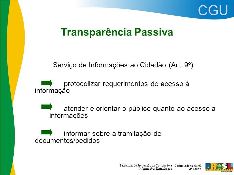 CGU Controladoria-Geral da União Secretaria de Prevenção da Corrupção e Informações Estratégicas Transparência Passiva Serviço de Informações ao Cidadão (Art.