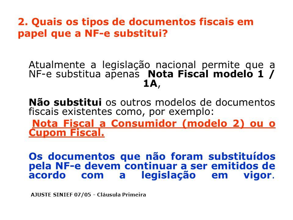 2. Quais os tipos de documentos fiscais em papel que a NF-e substitui? Atualmente a legislação nacional permite que a NF-e substitua apenas Nota Fisca