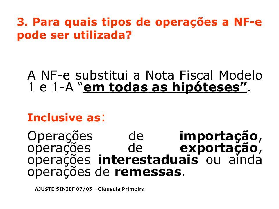 3. Para quais tipos de operações a NF-e pode ser utilizada? A NF-e substitui a Nota Fiscal Modelo 1 e 1-A em todas as hipóteses. Inclusive as : Operaç