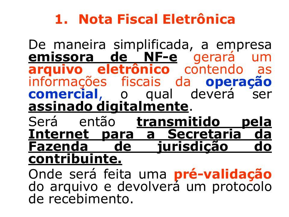 1.Nota Fiscal Eletrônica De maneira simplificada, a empresa emissora de NF-e gerará um arquivo eletrônico contendo as informações fiscais da operação