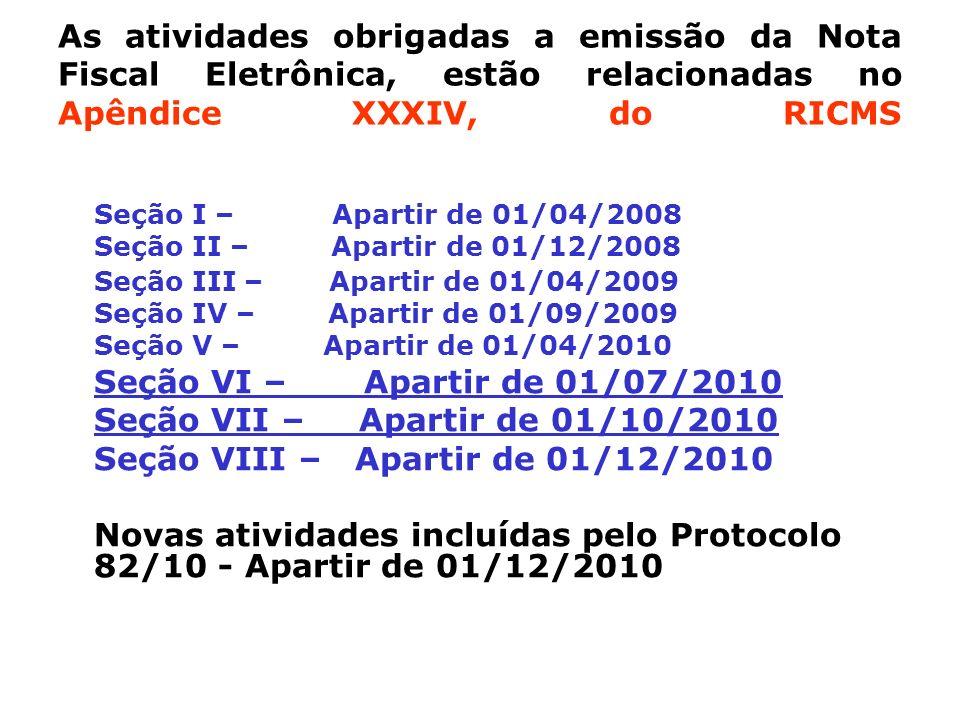 As atividades obrigadas a emissão da Nota Fiscal Eletrônica, estão relacionadas no Apêndice XXXIV, do RICMS Seção I – Apartir de 01/04/2008 Seção II –