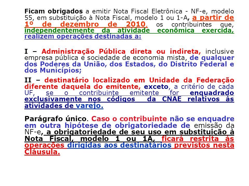 Ficam obrigados a emitir Nota Fiscal Eletrônica - NF-e, modelo 55, em substituição à Nota Fiscal, modelo 1 ou 1-A, a partir de 1º de dezembro de 2010,