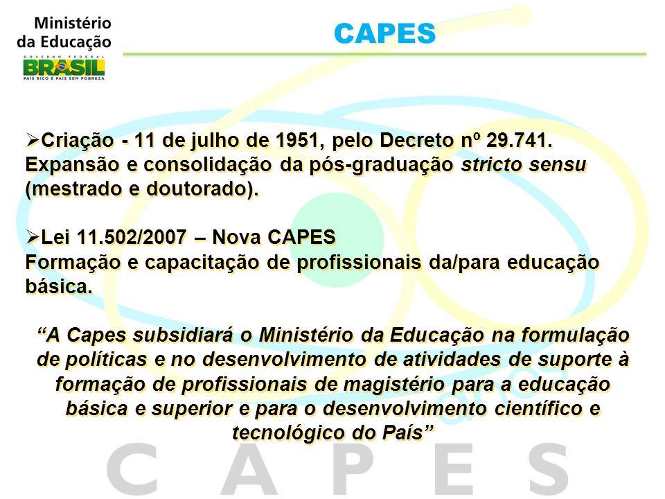 Criação - 11 de julho de 1951, pelo Decreto nº 29.741. Expansão e consolidação da pós-graduação stricto sensu (mestrado e doutorado). Lei 11.502/2007