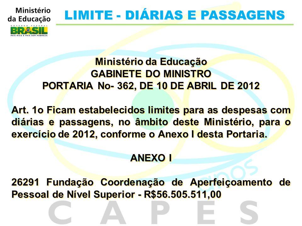 Ministério da Educação GABINETE DO MINISTRO PORTARIA No- 362, DE 10 DE ABRIL DE 2012 Art. 1o Ficam estabelecidos limites para as despesas com diárias