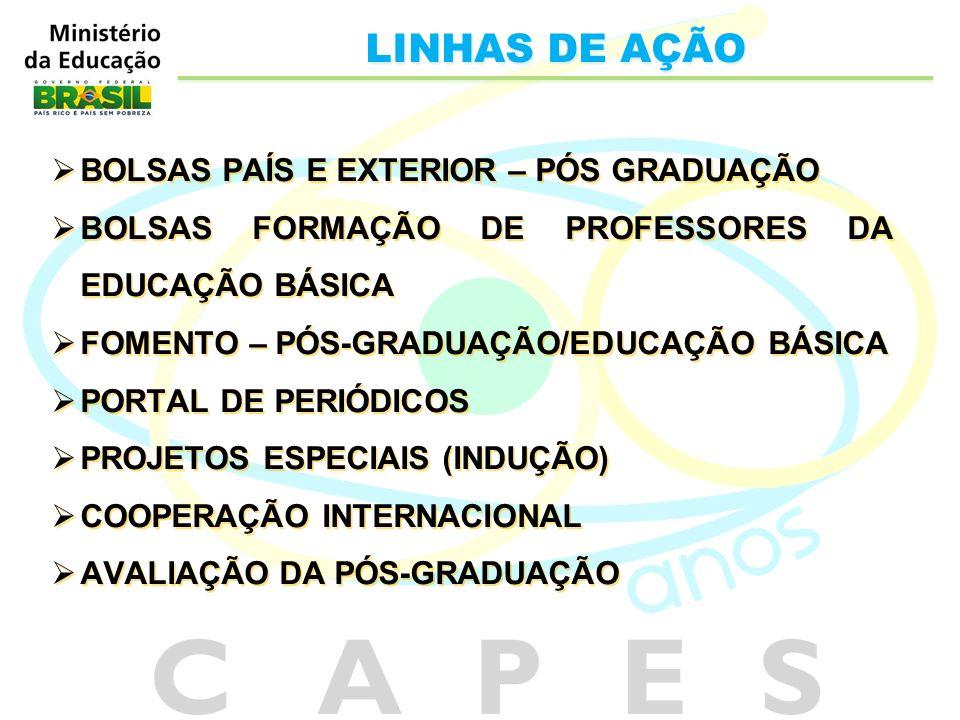 BOLSAS PAÍS E EXTERIOR – PÓS GRADUAÇÃO BOLSAS FORMAÇÃO DE PROFESSORES DA EDUCAÇÃO BÁSICA FOMENTO – PÓS-GRADUAÇÃO/EDUCAÇÃO BÁSICA PORTAL DE PERIÓDICOS