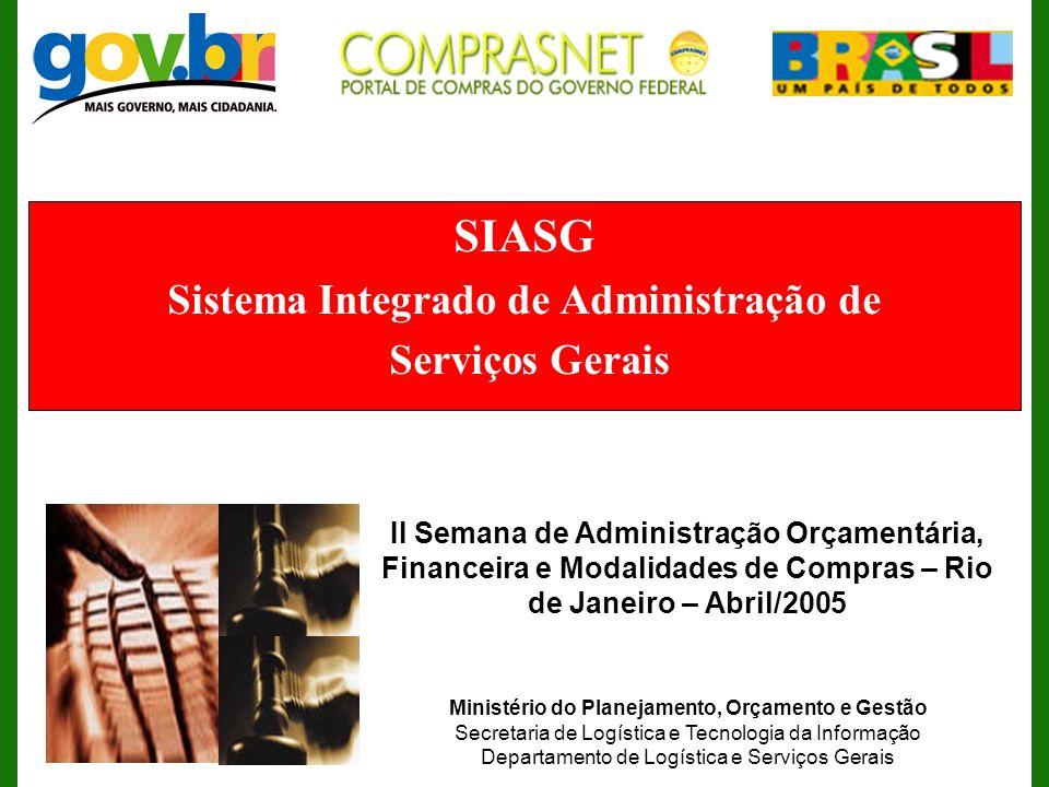 SIASG Sistema Integrado de Administração de Serviços Gerais II Semana de Administração Orçamentária, Financeira e Modalidades de Compras – Rio de Jane