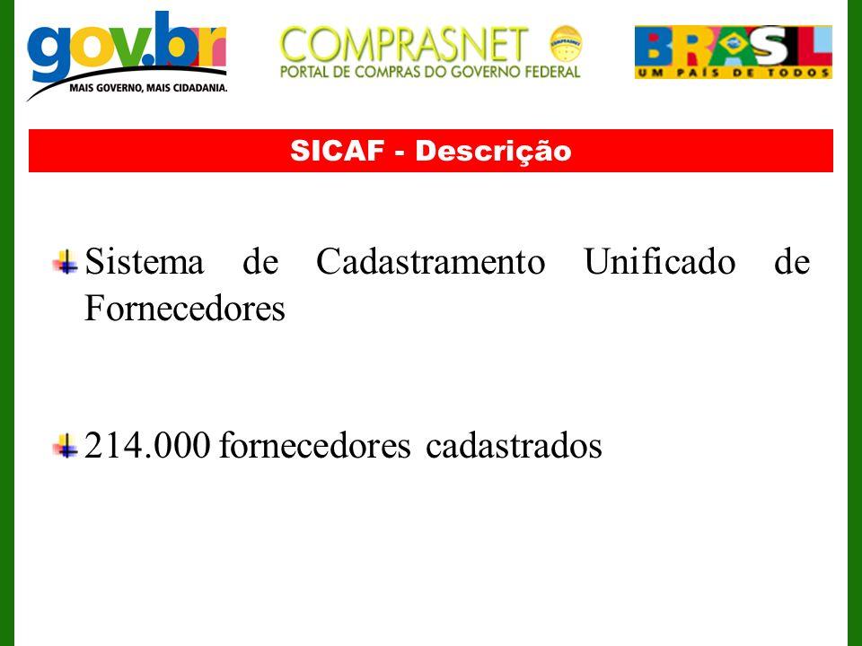 SICAF - Descrição Sistema de Cadastramento Unificado de Fornecedores 214.000 fornecedores cadastrados
