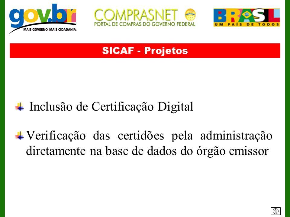SICAF - Projetos Inclusão de Certificação Digital Verificação das certidões pela administração diretamente na base de dados do órgão emissor
