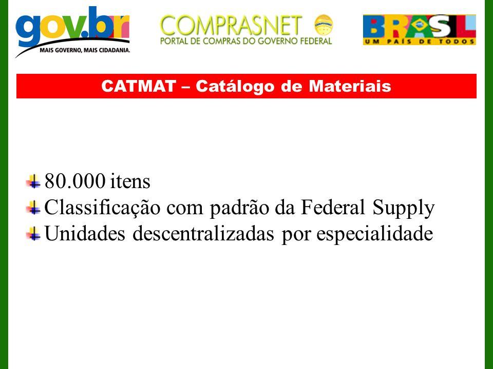 CATMAT – Catálogo de Materiais 80.000 itens Classificação com padrão da Federal Supply Unidades descentralizadas por especialidade