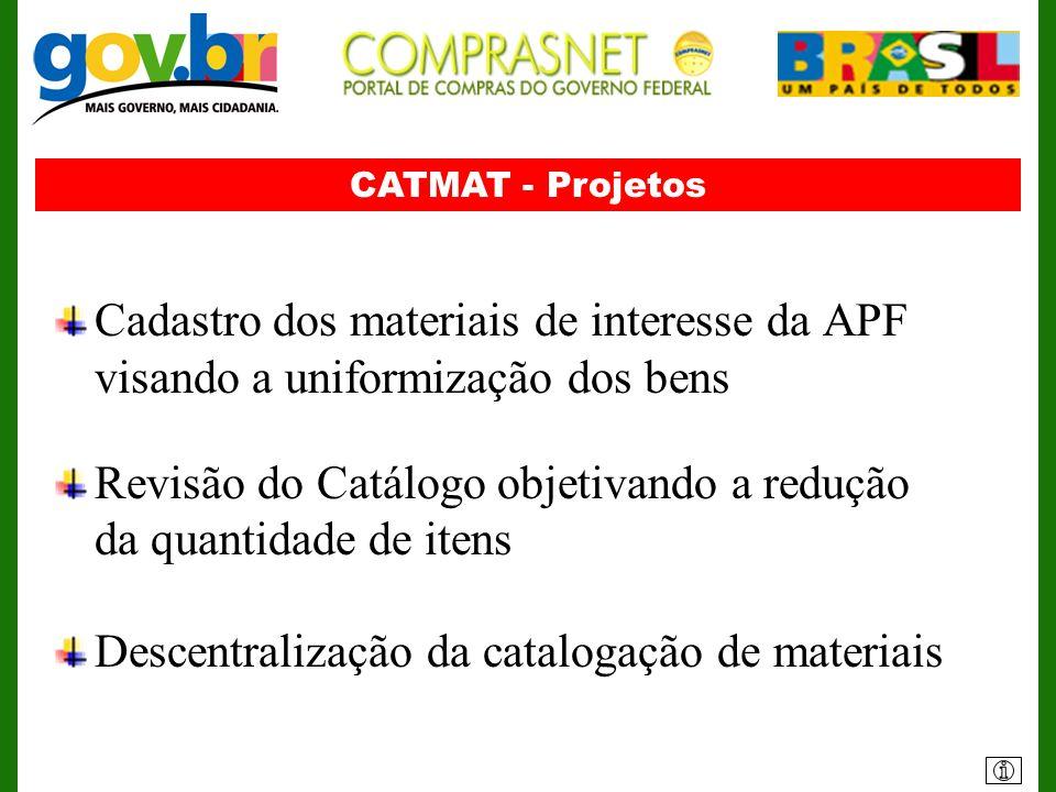 CATMAT - Projetos Cadastro dos materiais de interesse da APF visando a uniformização dos bens Revisão do Catálogo objetivando a redução da quantidade