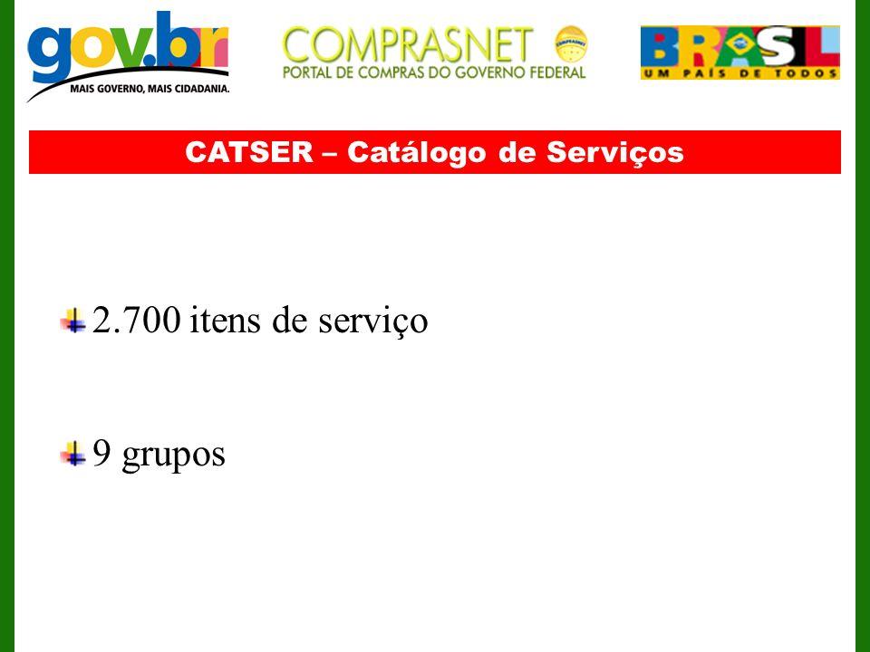 CATSER – Catálogo de Serviços 2.700 itens de serviço 9 grupos