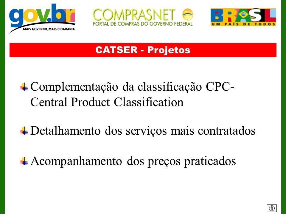 CATSER - Projetos Complementação da classificação CPC- Central Product Classification Detalhamento dos serviços mais contratados Acompanhamento dos pr