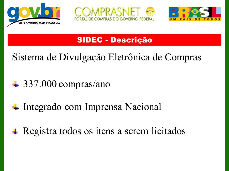 SIDEC - Descrição Sistema de Divulgação Eletrônica de Compras 337.000 compras/ano Integrado com Imprensa Nacional Registra todos os itens a serem lici