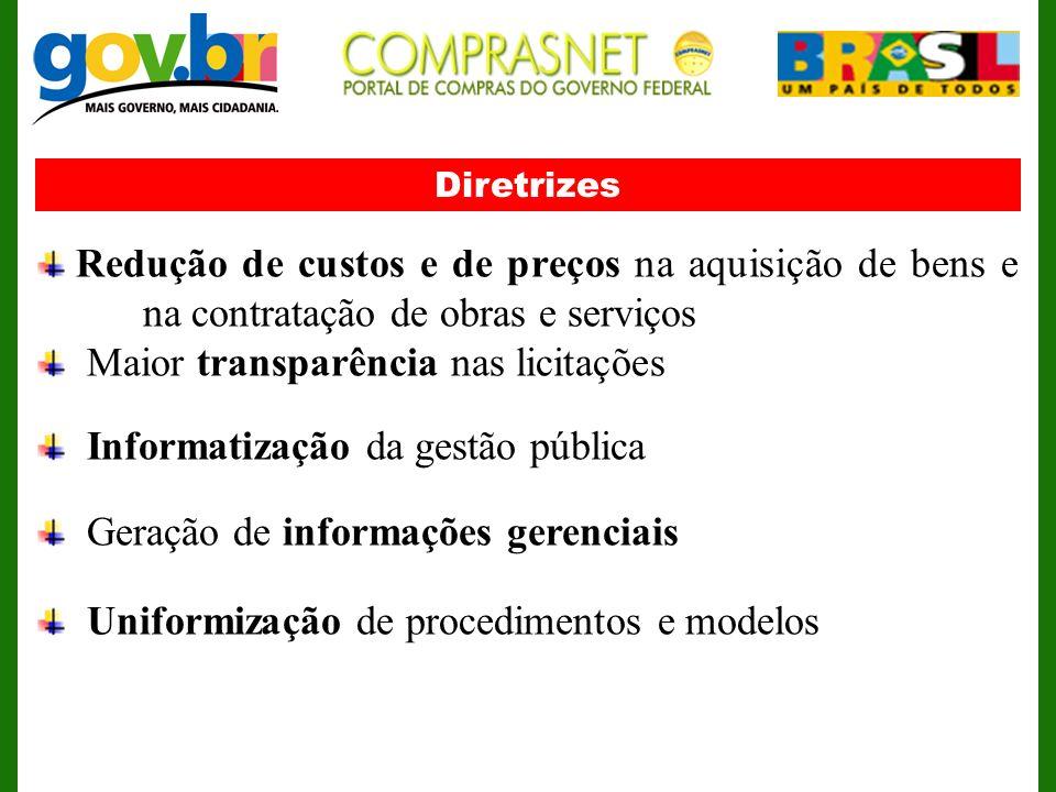 Diretrizes Redução de custos e de preços na aquisição de bens e na contratação de obras e serviços Maior transparência nas licitações Informatização d