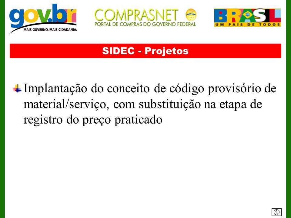 SIDEC - Projetos Implantação do conceito de código provisório de material/serviço, com substituição na etapa de registro do preço praticado