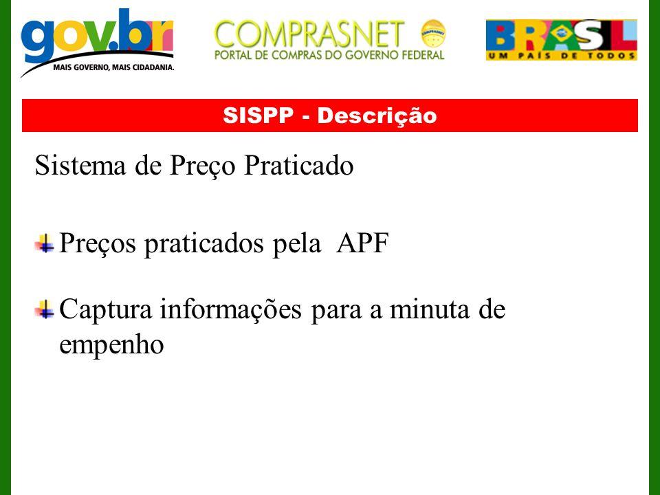 SISPP - Descrição Sistema de Preço Praticado Preços praticados pela APF Captura informações para a minuta de empenho