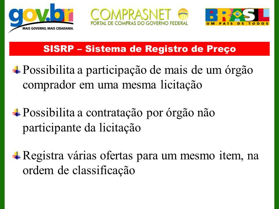 SISRP – Sistema de Registro de Preço Possibilita a participação de mais de um órgão comprador em uma mesma licitação Possibilita a contratação por órg