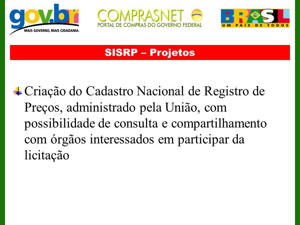SISRP – Projetos Criação do Cadastro Nacional de Registro de Preços, administrado pela União, com possibilidade de consulta e compartilhamento com órg
