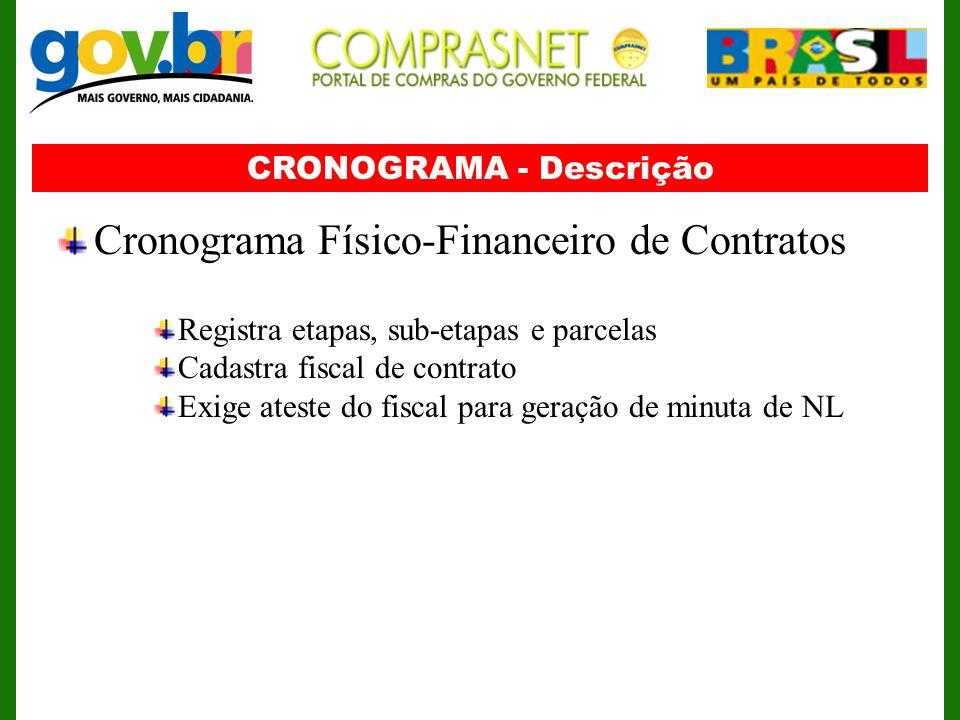 CRONOGRAMA - Descrição Cronograma Físico-Financeiro de Contratos Registra etapas, sub-etapas e parcelas Cadastra fiscal de contrato Exige ateste do fi