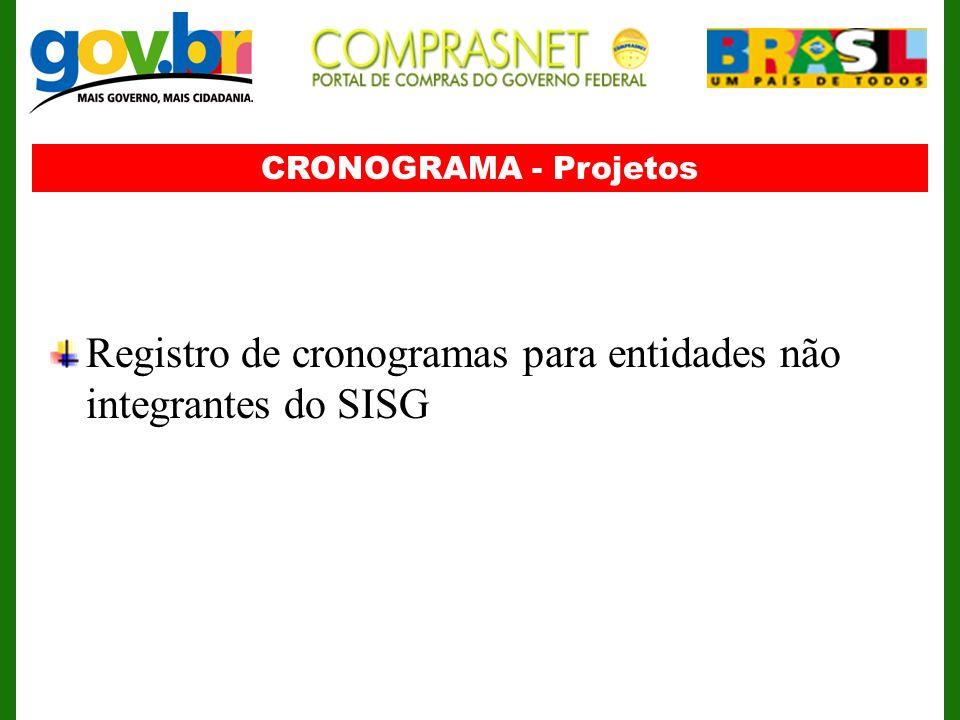 CRONOGRAMA - Projetos Registro de cronogramas para entidades não integrantes do SISG