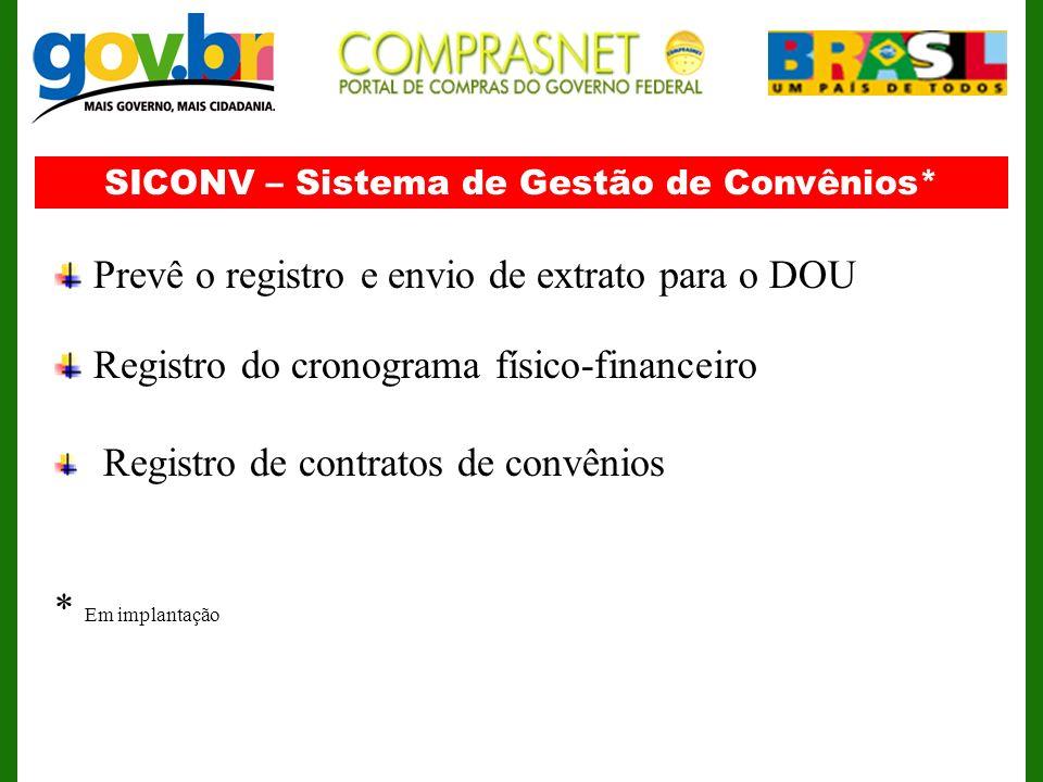 SICONV – Sistema de Gestão de Convênios* Prevê o registro e envio de extrato para o DOU Registro do cronograma físico-financeiro Registro de contratos