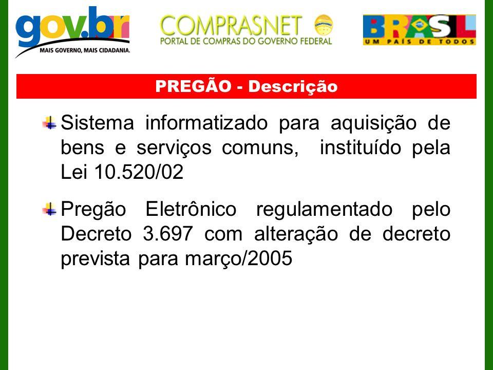 Sistema informatizado para aquisição de bens e serviços comuns, instituído pela Lei 10.520/02 Pregão Eletrônico regulamentado pelo Decreto 3.697 com a