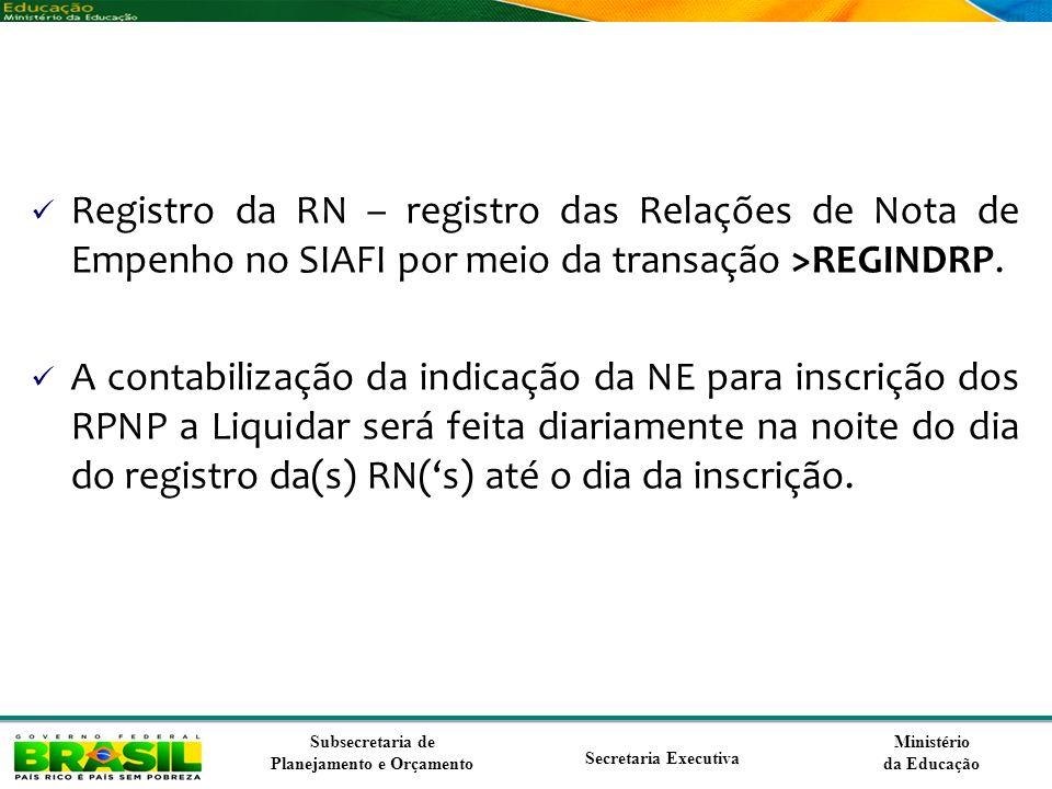 Ministério da Educação Subsecretaria de Planejamento e Orçamento Secretaria Executiva Registro da RN – registro das Relações de Nota de Empenho no SIA