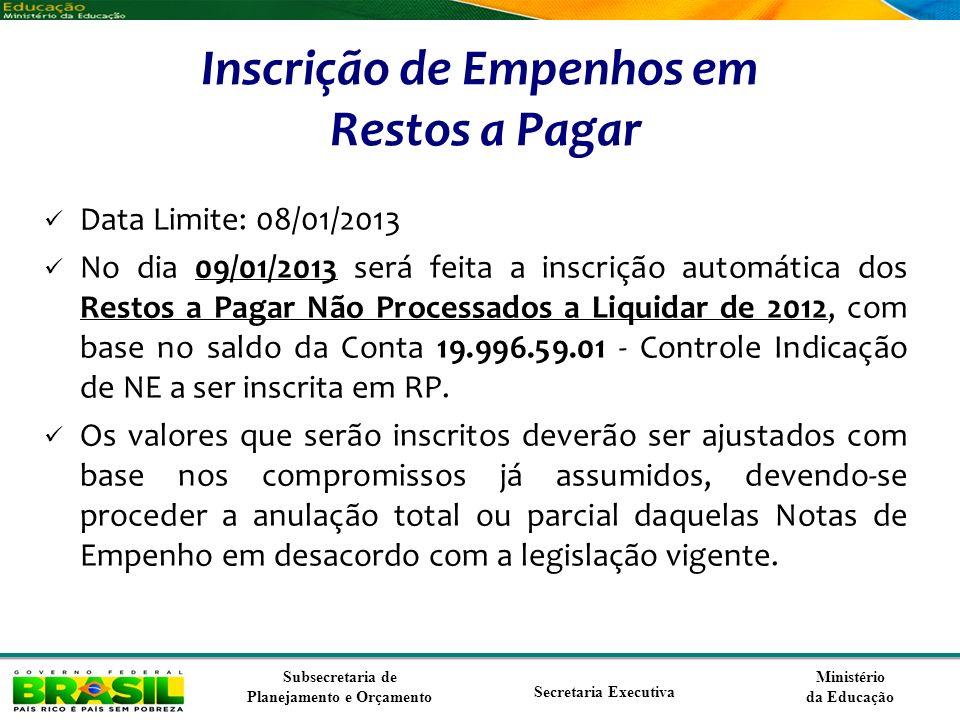 Ministério da Educação Subsecretaria de Planejamento e Orçamento Secretaria Executiva Inscrição de Empenhos em Restos a Pagar Data Limite: 08/01/2013
