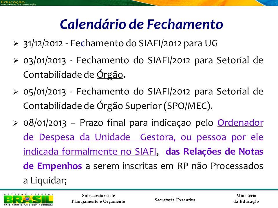 Ministério da Educação Subsecretaria de Planejamento e Orçamento Secretaria Executiva Inovações para o exercício de 2013 Revisão de classificações de elementos e sub elementos de despesas, para atender a Portaria SOF/STN 163/2001 O controle da execução de RP Não Processados passa a ser feito nas contas: 29511.01.01 = RP NAO PROCESSADOS A LIQUIDAR 29511.01.02 = RP NAO PROCESSADOS A LIQUIDAR EM LIQUIDACAO 29511.02.01 = RP NAO PROCESSADOS A LIQUIDAR LIQUIDADO 29511.02.02 = RP NAO PROCESSADO EM LIQUIDACAO LIQUIDADO 29511.03.01 = RP NAO PROCESSADOS A LIQUIDAR PAGO 29511.03.02 = RP NAO PROCESSADOS EM LIQUIDACAO PAGO 29511.04.01 = RPNP A LIQUIDAR BLOQUEADOS POR DECRETO 29511.04.02 = RPNP A LIQUIDAR BLOQUEADOS NAO AUTORIZADO Nova espécie de Empenho para o cancelamento de RPNP em liquidação – espécie 17 As espécie de Empenho 13, 14 e 17 passam a exigir o subitem da despesa.
