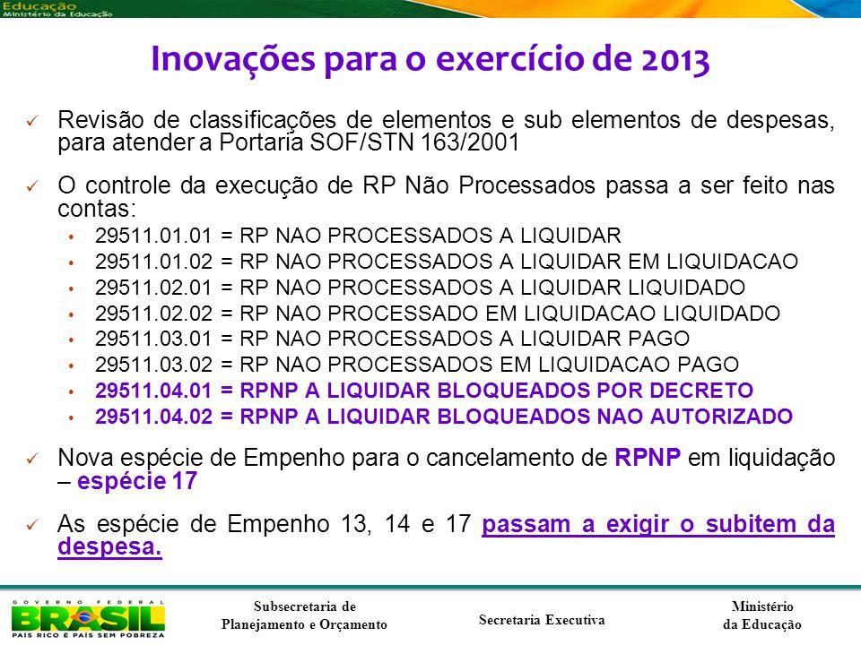 Ministério da Educação Subsecretaria de Planejamento e Orçamento Secretaria Executiva Inovações para o exercício de 2013 Revisão de classificações de