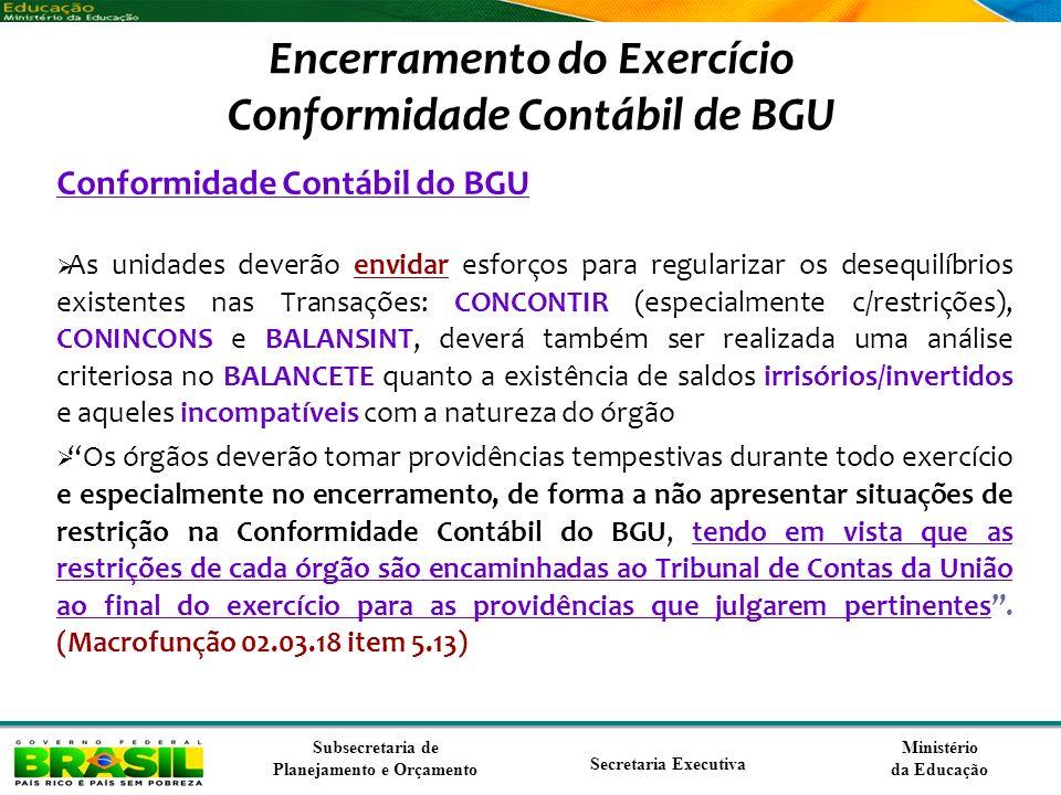 Ministério da Educação Subsecretaria de Planejamento e Orçamento Secretaria Executiva Encerramento do Exercício Conformidade Contábil de BGU Conformid