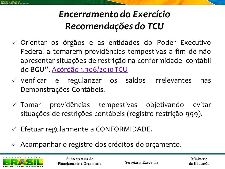 Ministério da Educação Subsecretaria de Planejamento e Orçamento Secretaria Executiva Encerramento do Exercício Recomendações do TCU Orientar os órgão