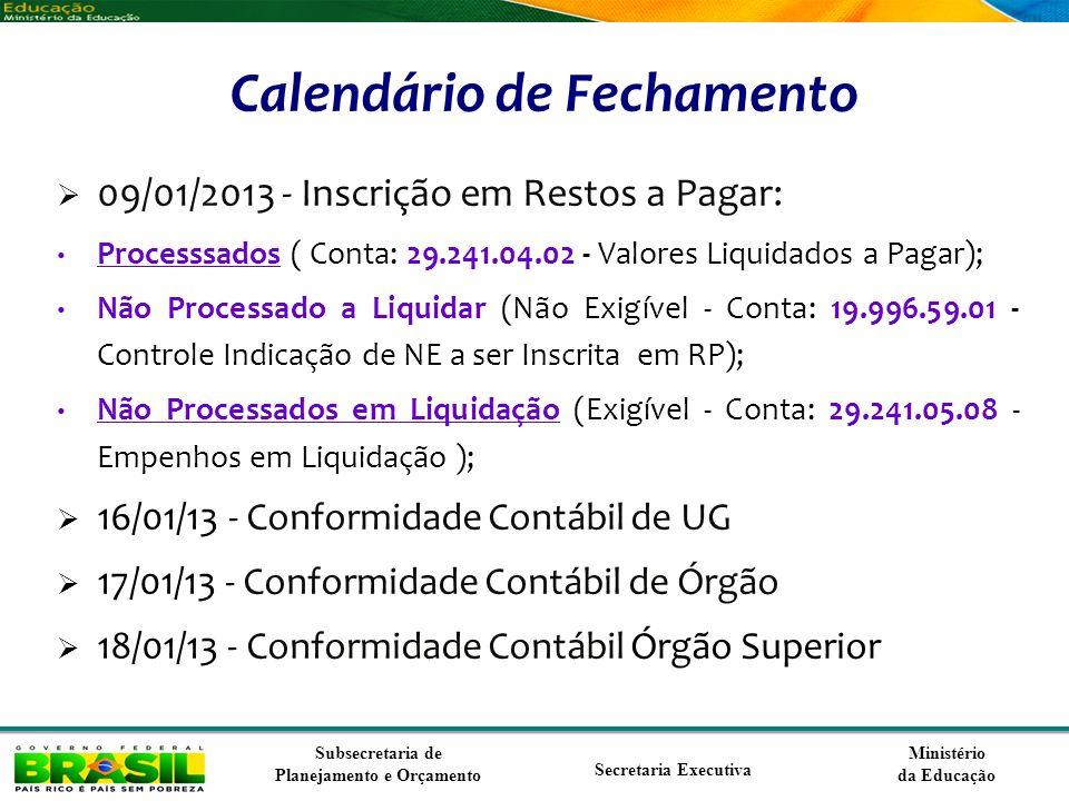 Ministério da Educação Subsecretaria de Planejamento e Orçamento Secretaria Executiva Calendário de Fechamento 09/01/2013 - Inscrição em Restos a Paga