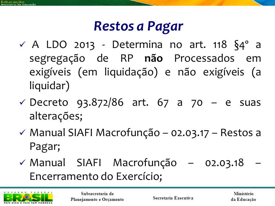 Ministério da Educação Subsecretaria de Planejamento e Orçamento Secretaria Executiva Restos a Pagar A LDO 2013 - Determina no art. 118 §4º a segregaç