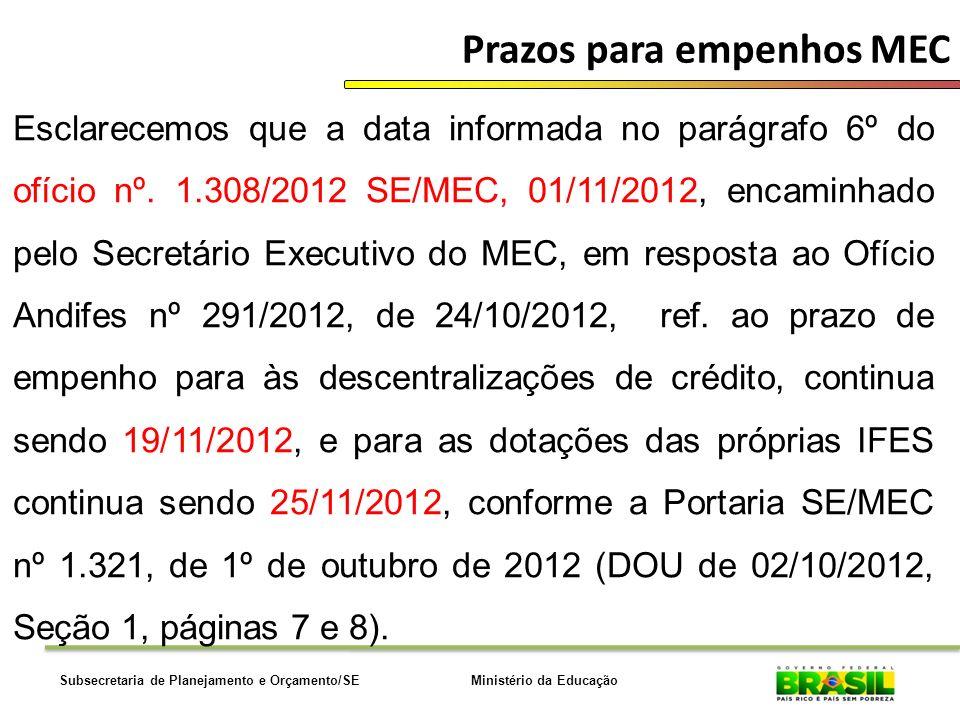 Ministério da EducaçãoSubsecretaria de Planejamento e Orçamento/SE Prazos para empenhos MEC Esclarecemos que a data informada no parágrafo 6º do ofício nº.