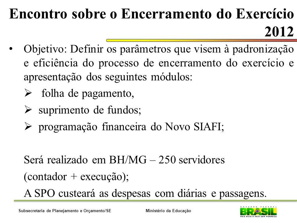 Ministério da EducaçãoSubsecretaria de Planejamento e Orçamento/SE Encontro sobre o Encerramento do Exercício 2012 Objetivo: Definir os parâmetros que visem à padronização e eficiência do processo de encerramento do exercício e apresentação dos seguintes módulos: folha de pagamento, suprimento de fundos; programação financeira do Novo SIAFI; Será realizado em BH/MG – 250 servidores (contador + execução); A SPO custeará as despesas com diárias e passagens.
