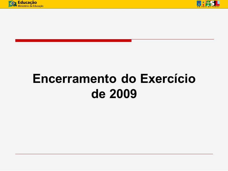 INOVAÇÕES PARA 2009/2010 Apuração do resultado Regra Geral: Encerramento das Contas de Resultado (classes 3, 4, 5 e 6) em contrapartida com a conta 63100.00.00 - Resultado do Exercício.