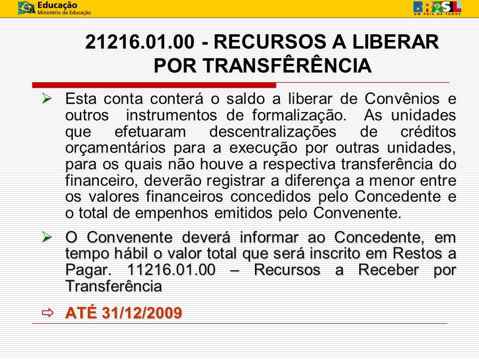 21216.01.00 - RECURSOS A LIBERAR POR TRANSFÊRÊNCIA Esta conta conterá o saldo a liberar de Convênios e outros instrumentos de formalização. As unidade