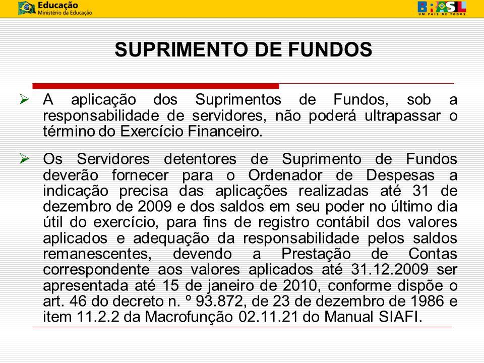 SUPRIMENTO DE FUNDOS A aplicação dos Suprimentos de Fundos, sob a responsabilidade de servidores, não poderá ultrapassar o término do Exercício Financ