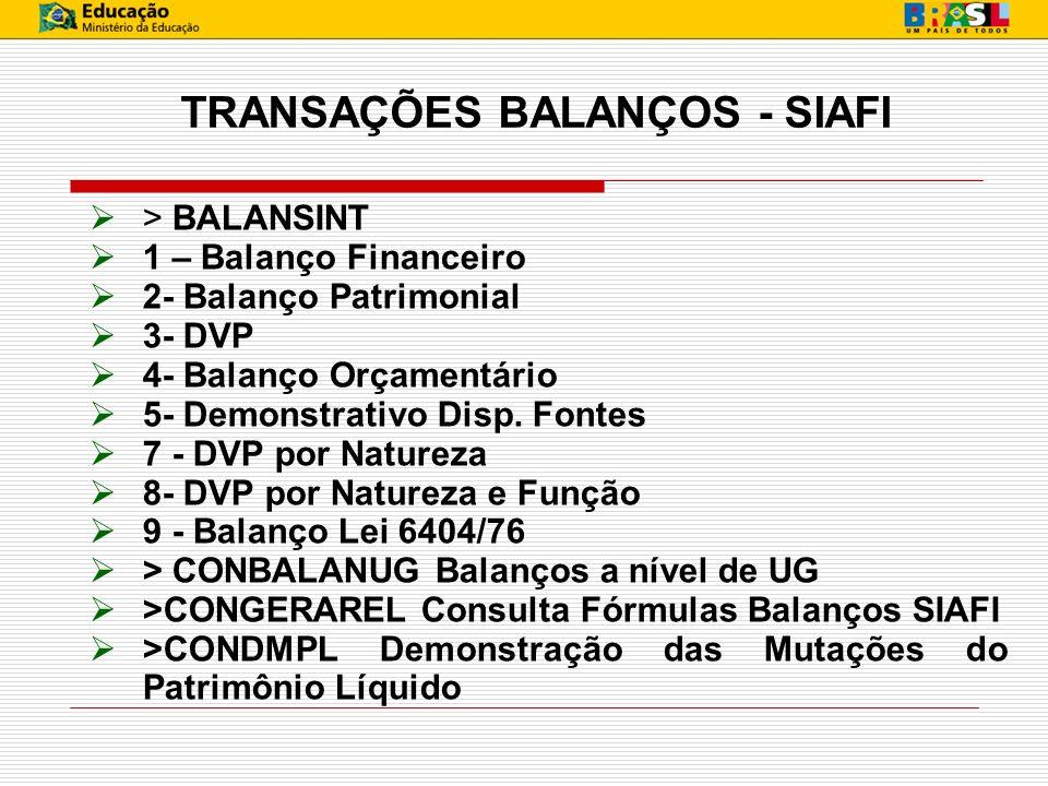 TRANSAÇÕES BALANÇOS - SIAFI > BALANSINT 1 – Balanço Financeiro 2- Balanço Patrimonial 3- DVP 4- Balanço Orçamentário 5- Demonstrativo Disp. Fontes 7 -