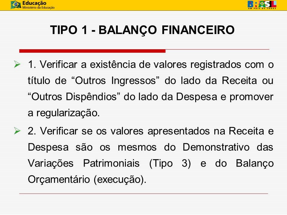 TIPO 1 - BALANÇO FINANCEIRO 1. Verificar a existência de valores registrados com o título de Outros Ingressos do lado da Receita ou Outros Dispêndios