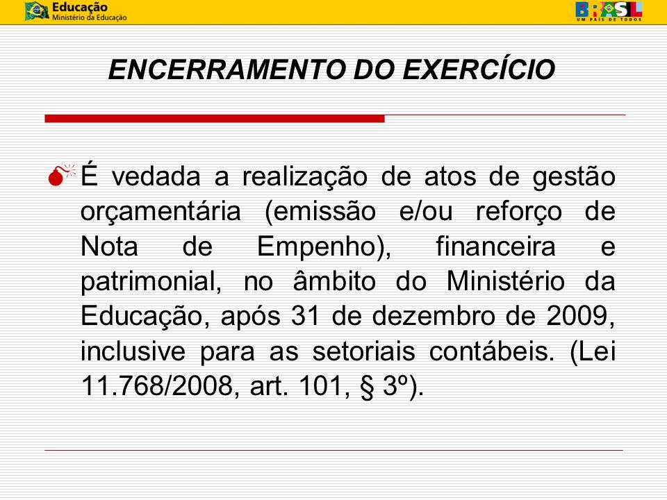 CONTAS A SEREM VERIFICADAS 21261.00.00 - GRU - Valores em Transito por Estorno de Despesa: não deverá conter saldo no encerramento do exercício.