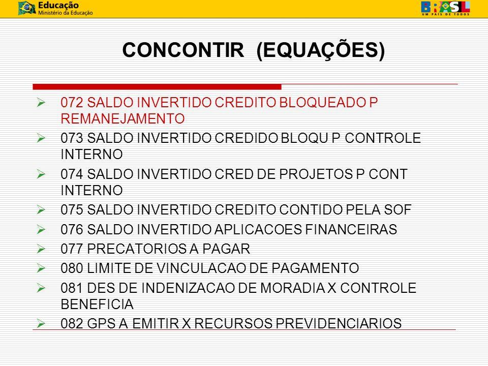 CONCONTIR (EQUAÇÕES) 072 SALDO INVERTIDO CREDITO BLOQUEADO P REMANEJAMENTO 073 SALDO INVERTIDO CREDIDO BLOQU P CONTROLE INTERNO 074 SALDO INVERTIDO CR